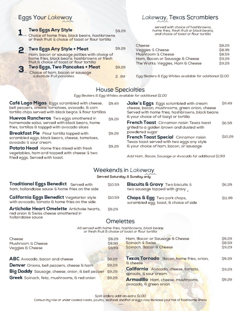 Cafe Lago Lakeway Breakfast Menu
